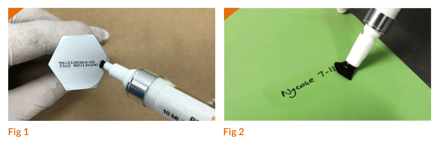 Figure 1 shows Nycotek™ pen applying Nycote 7-11 Clear to an aerospace fastener part marking. Figure 2 shows Nycotek™ pen applying Nycote 7-11 Clear to an aerospace-approved marking ink and paint.