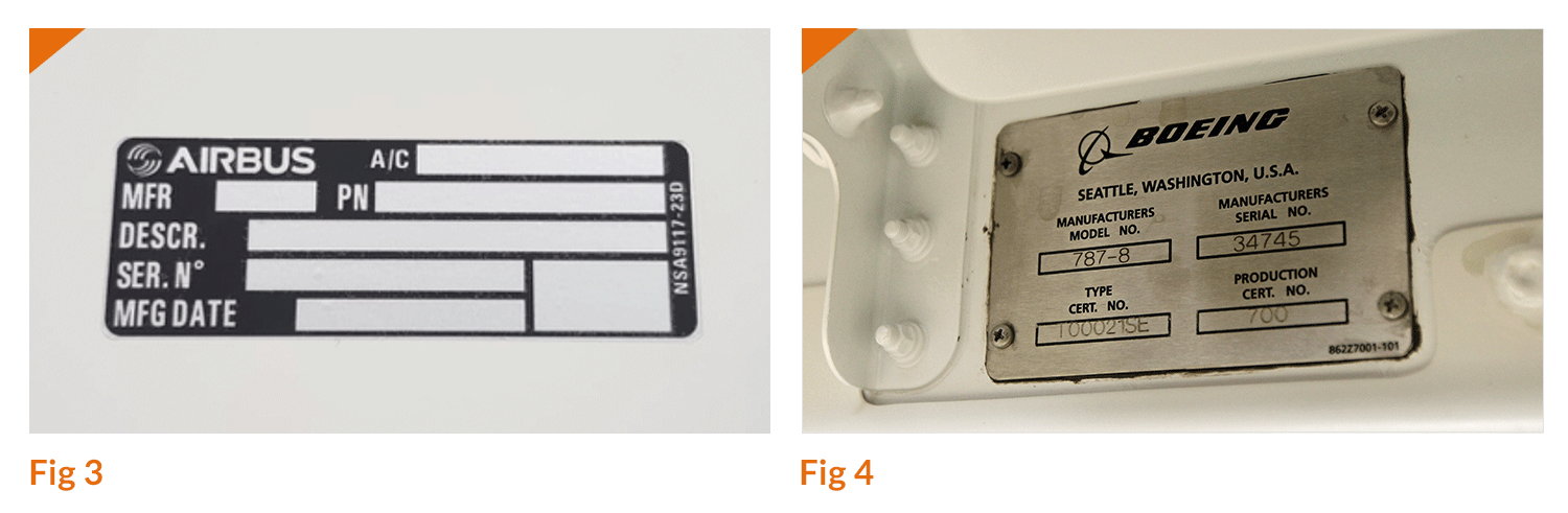 Figure 3 shows Nycote 99 EcoShield applied to an aircraft ID label. Figure 4 shows a typical aircraft ID plate.