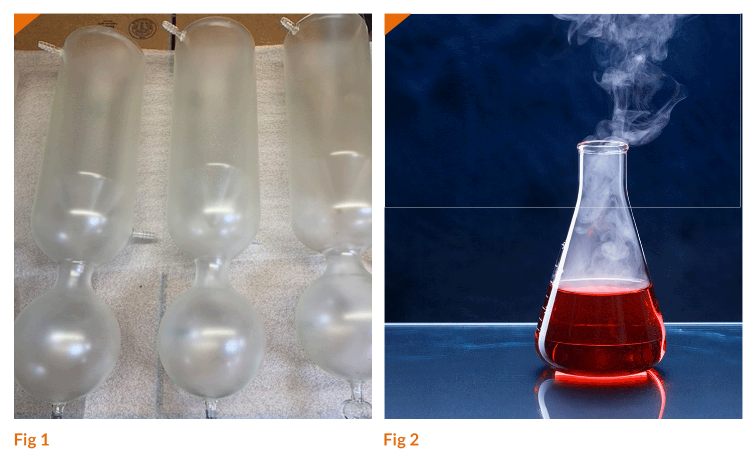 Laboratory glassware protected with Nycote's clear nylon epoxy polymer coating.
